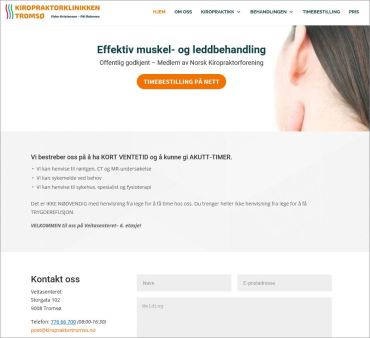 Hjemmeside Kiropraktorklinikken Tromsø