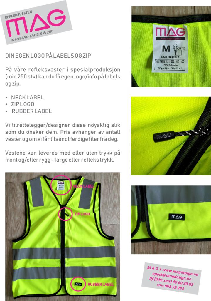 YB REFLEKSVESTER egne labels & zip [MAG]
